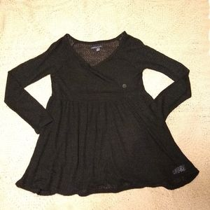 American Eagle Black Thin Knit Baby Doll Top -NWOT